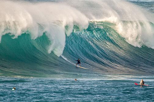 Kelta ORourke is a big-wave surfer who takes on Waimea Bay.
