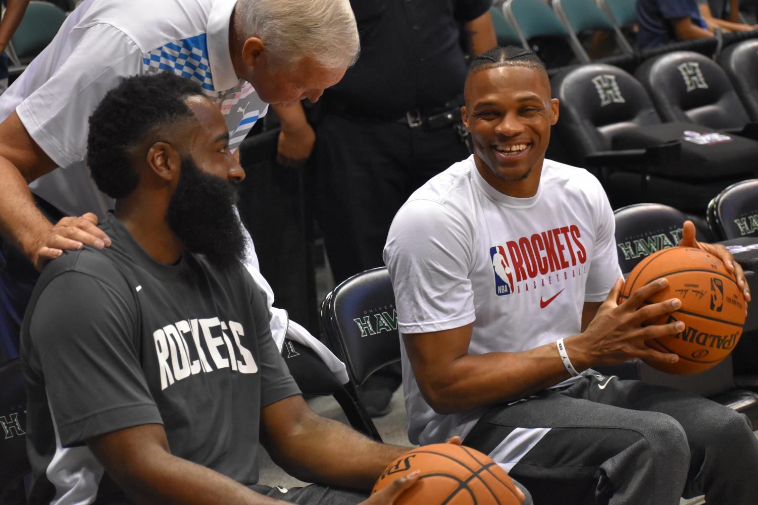 James Harden and Russell Westbrook before the game. Shot by Andre Arissol