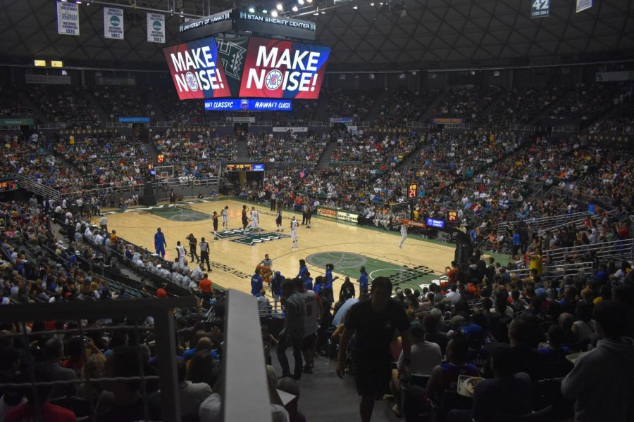 The Stan Sheriff Center was a sellout for the Clippers and the Rockets preseason game on Thursday night.