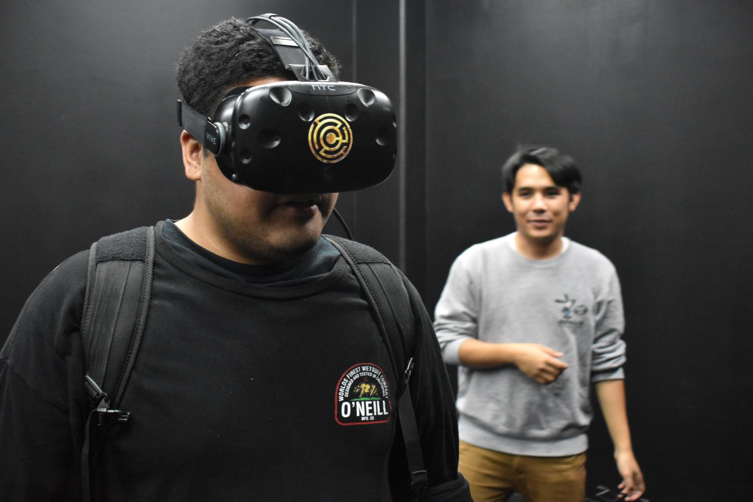 Chambers Escape Games utilizes the HTC Vive virtual reality headset, which uses room scale tracking technology to determine a player's position in the virtual world.