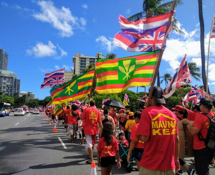 More than 10.000 people stormed the streets for the Aloha Aina Together We Rise Unity March on Saturday in Waikiki.
