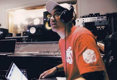 Lapana Ieriko, a local music producer, works on building a song at the Live Animaux in Honolulu.