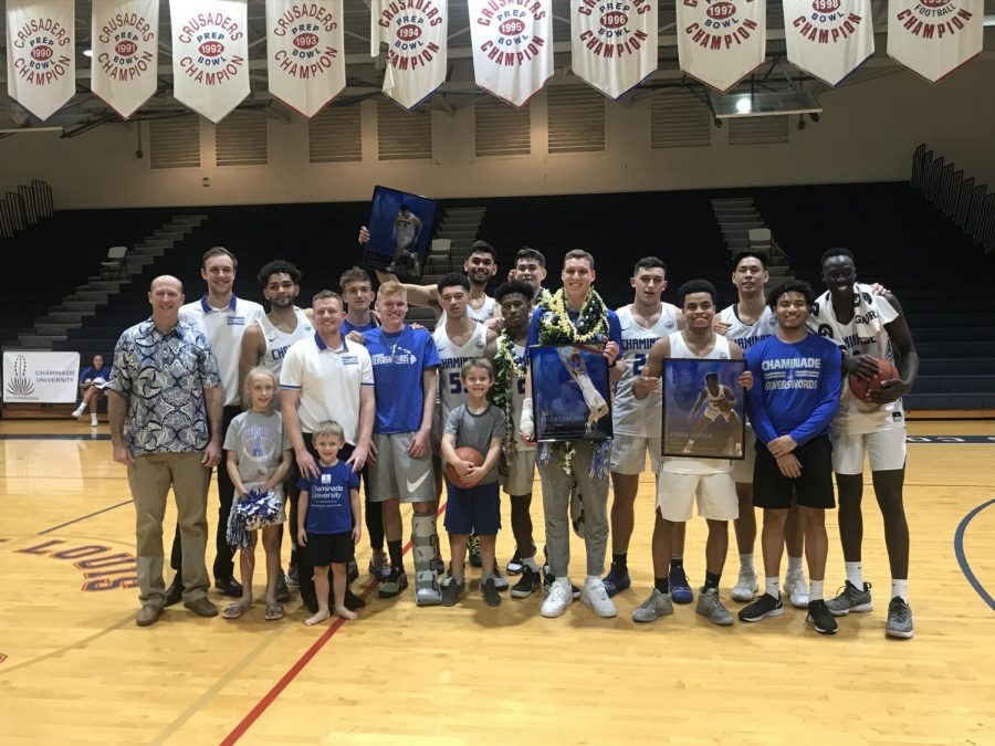 Chaminade men's basketball team wins big in home finale on senior night against UH-Hilo at McCabe Gym.