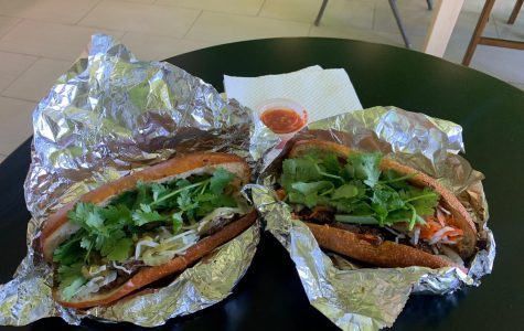 On the left is the BBQ Beef Sandwich and on the right is the BBQ Pork Sandwich from No Name BBQ Sandwich on Waialae Ave.