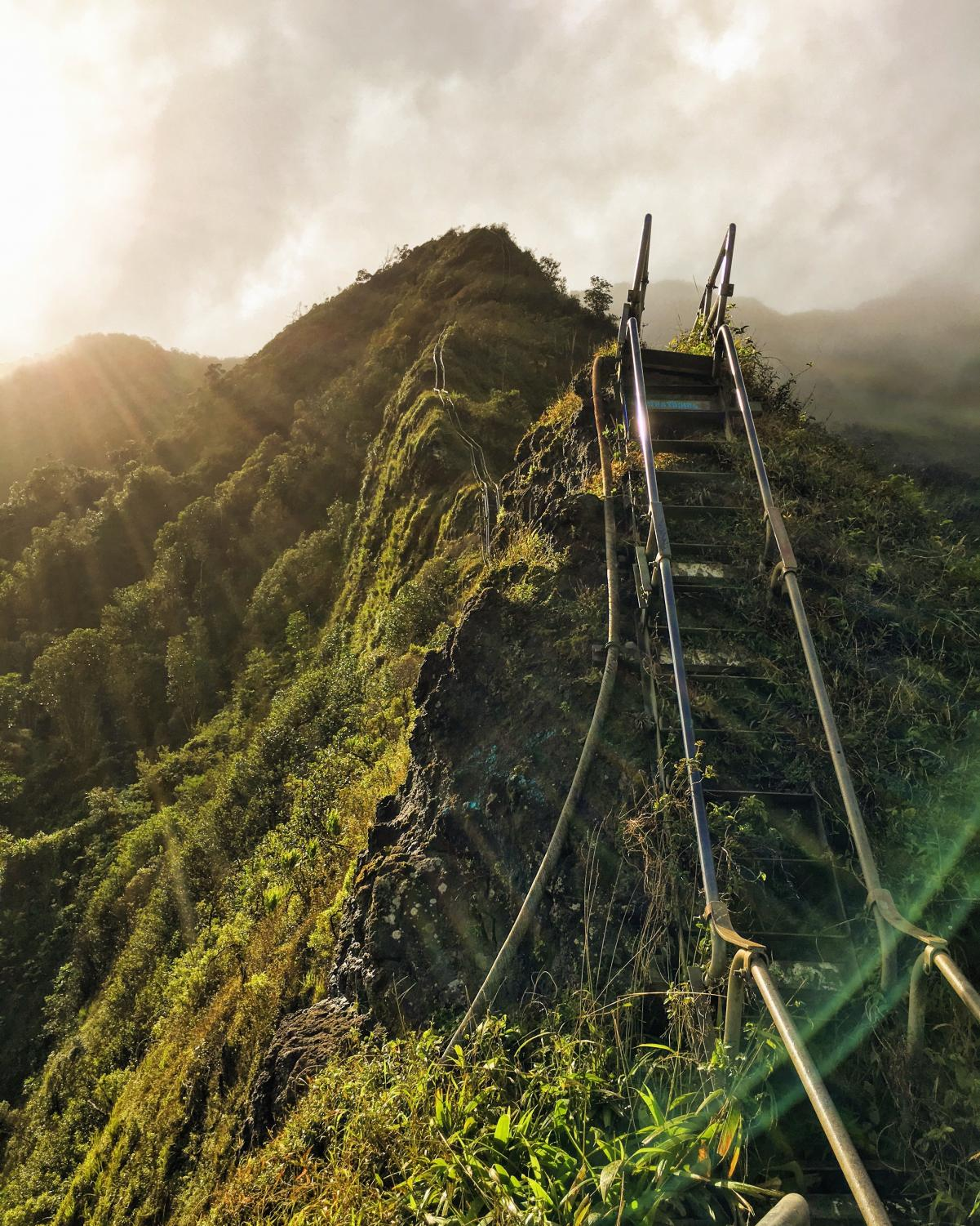 The view from the first platform of the Stairway to Heaven hike located in Kaneohe, Hawaii.