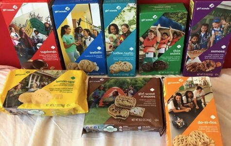 Here are some of the Girls Scout Cookies offered this season. The cookies (from left to right, starting from the back row to the front row): Tagalongs, Trefoils, Toffee-tastic, Thin Mints, Samoas, Lemon-ups, Girl Scout S'mores, and Do-si-dos.