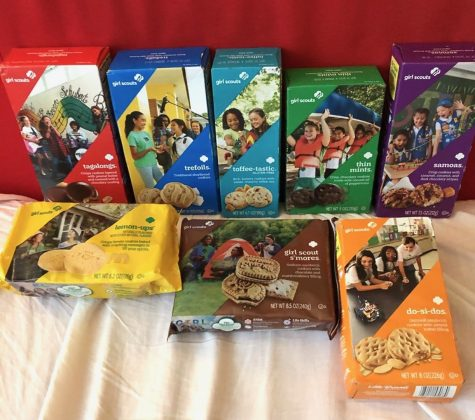Here are some of the Girls Scout Cookies offered this season. The cookies (from left to right, starting from the back row to the front row): Tagalongs, Trefoils, Toffee-tastic, Thin Mints, Samoas, Lemon-ups, Girl Scout S