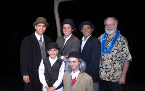 Bro. Gary Morris, Cedric Jonathan, and Blaze Mancillas (right to left) with the cast of CUH's 2007 Fall play,