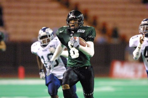 Ashley Lelie played wide reciever for Hawaii from 1999 to 2001 before being drafted by the Denver Broncos with the 19th overall pick in the 2002 NFL Draft.
