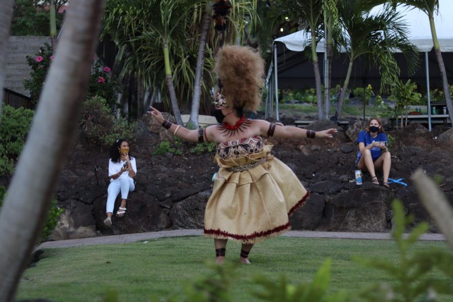 Tanisha Taualai performing the Taualuga dance to end the night. Family members gave money during the performance to show appreciation.