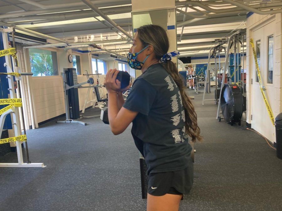 Sophomore+Kieren+Lopez+worked+out+Monday+morning%2C+the+first+day+that+the+Carlson+Fitness+Center+was+re-opened.+