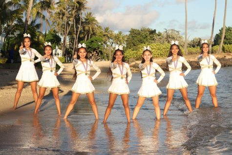 This photo was taken at Kahala Beach Park with Sacred Hearts Academy Cheerleaders, a few weeks after winning their third state championship.