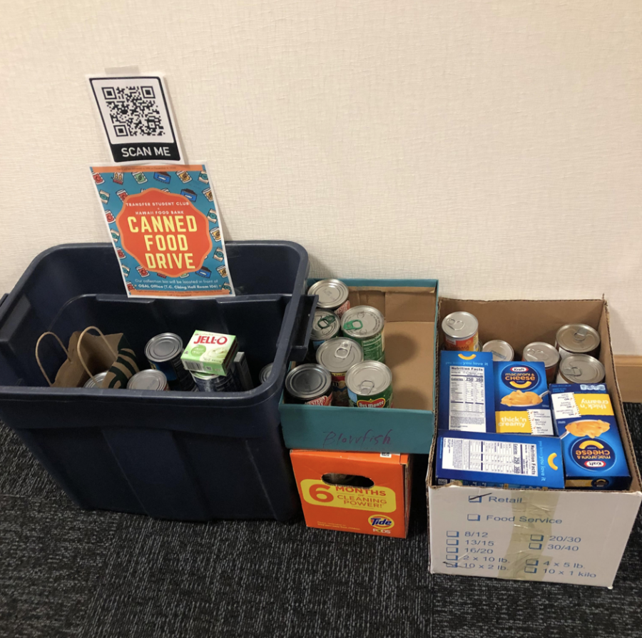 Avi Gonzalez, Transfer Club's advisor, took a picture of the canned food donations in the donation boxes in front of the Office of Student Activities and Leadership office.