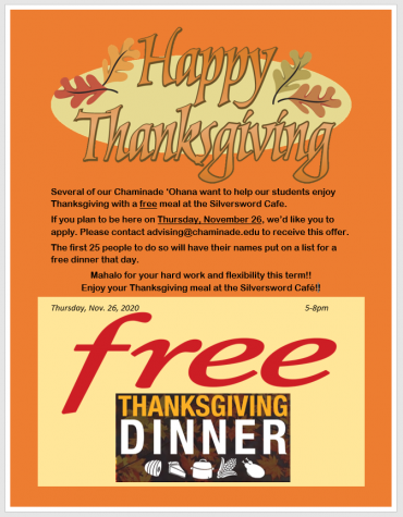 Free Thanksgiving Dinner For CUH Students Staying On Campus