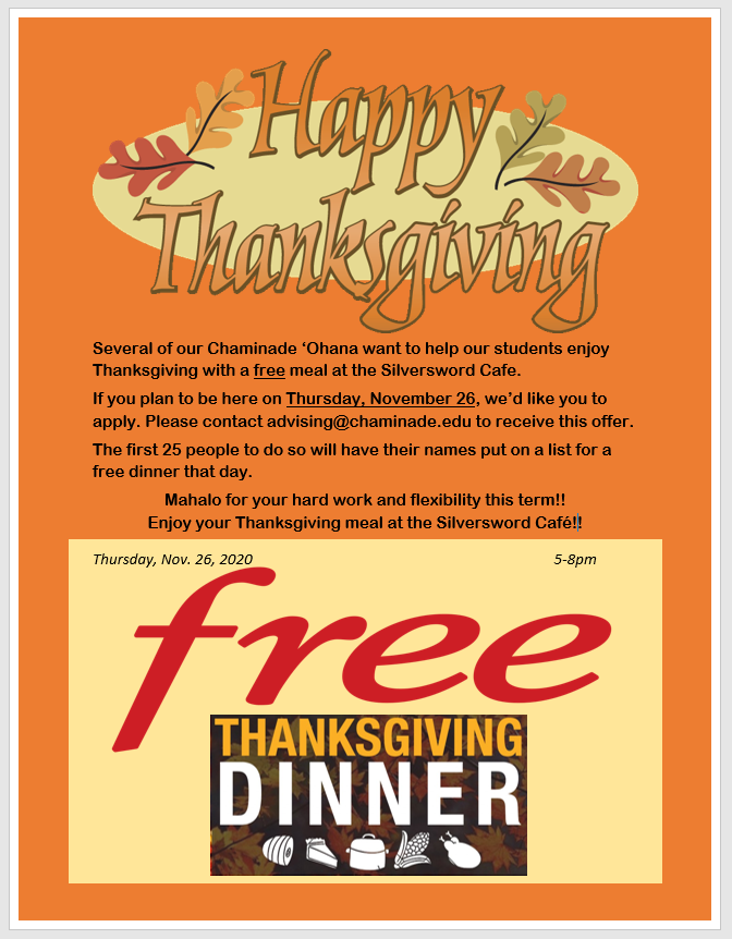 Chaminade's Office of Advising is gifting meals to students this Thanksgiving.