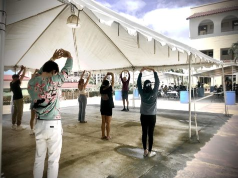 Chaminade students perform tai chi and qigong prior to their psychology course with professor Robert Santee.