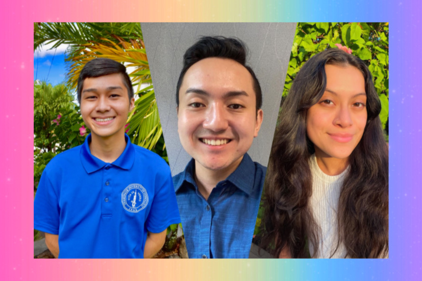 LGBTQ+ members of the Chaminade community shared their experiences coming out. (From left to right: Marlon Francisco, Pono Riddle, and Emily Em Ramirez Miranda).