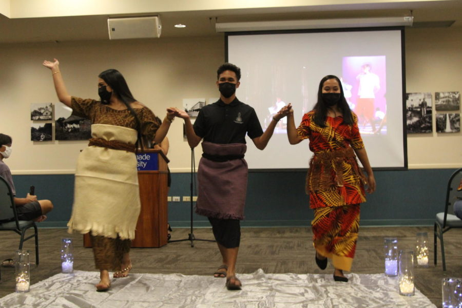 Students are depicted wearing traditional Tongan attire. The fashion show allowed faculty, staff, and students to immerse themselves in the various cultures and traditions within the CUH community and around the world.
