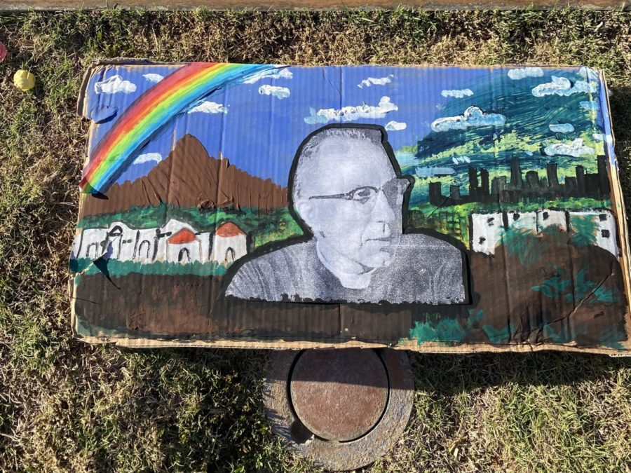 First-year Joelle Montelongo created an art collage of Father Robert Mackey, SM., the founder of Chaminade University.