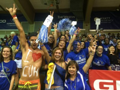 CUH students cheering on the basketball team at the Maui Invitational in 2015 at Lahaina Civic Center.
