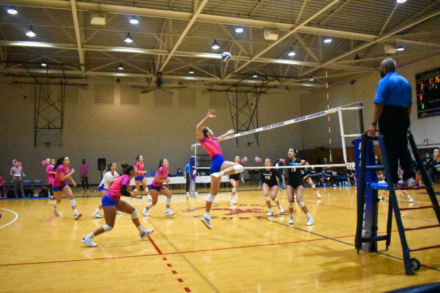 Lataisia Saulala going up for the kill as the Chaminade womens volleyball team squared off against HPU with 72 fans in attendance at McCabe Gym Wednesday night.